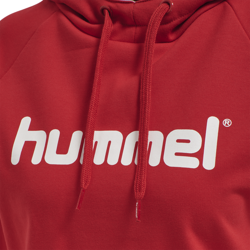 HUMMEL GO COTTON LOGO HOODIE WOMAN, TRUE RED, packshot