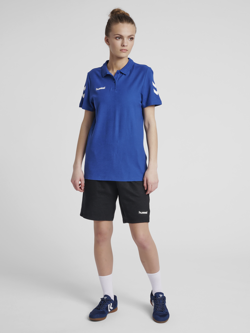 HUMMEL GO COTTON POLO WOMAN, TRUE BLUE, model