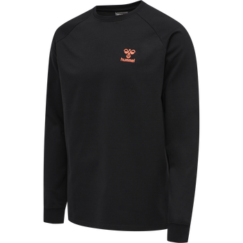hmlACTION COTTON SWEATSHIRT, BLACK/FIESTA, packshot