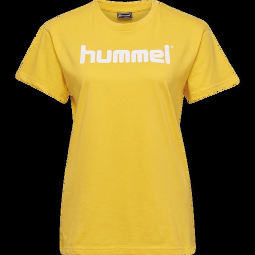 HUMMEL GO COTTON LOGO T-SHIRT WOMAN S/S, SPORTS YELLOW, packshot