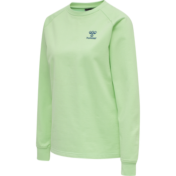 hmlACTION COTTON SWEATSHIRT WOMAN, GREEN ASH/BLUE CORAL, packshot