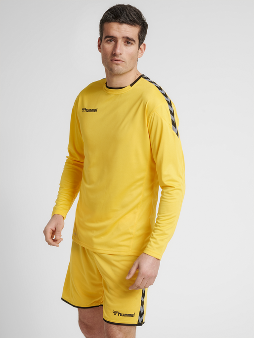 hmlAUTHENTIC POLY JERSEY L/S, SPORTS YELLOW/BLACK, model