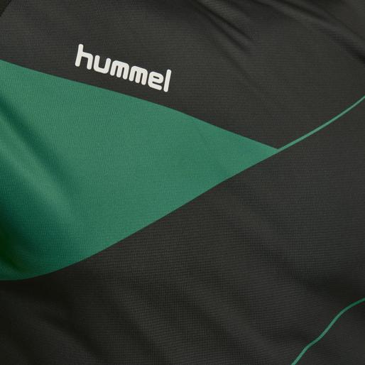 HUMMEL COURT JERSEY S/S, BLACK/GOLF GREEN, packshot