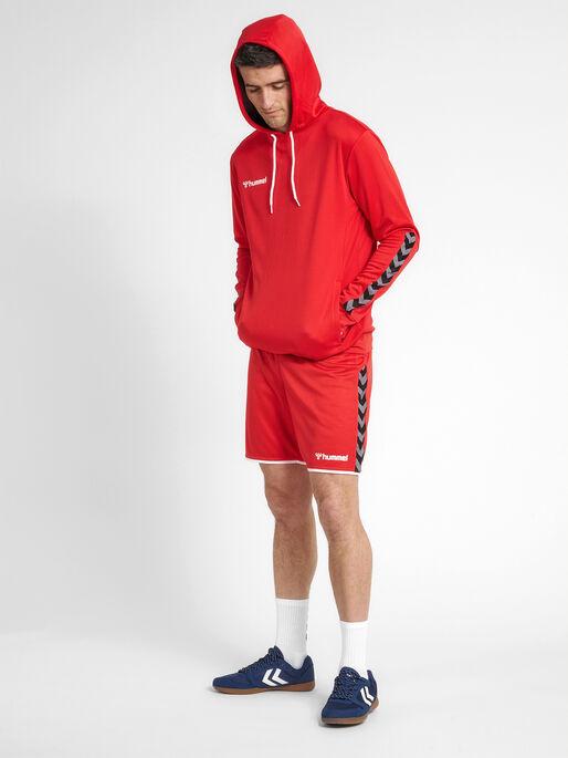 hmlAUTHENTIC POLY HOODIE, TRUE RED, model