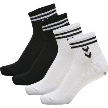 hmlSTRIPE 4-PACK MID CUT SOCKS MIX, WHITE/BLACK, packshot