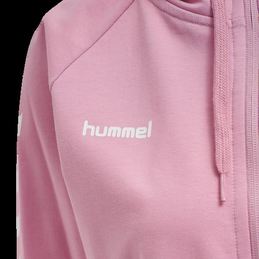 HUMMEL GO COTTON ZIP HOODIE WOMAN, COTTON CANDY, packshot