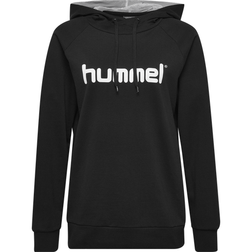 HUMMEL GO COTTON LOGO HOODIE WOMAN, BLACK, packshot