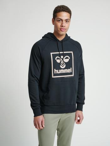 hmlISAM HOODIE, BLACK/HUMUS, model