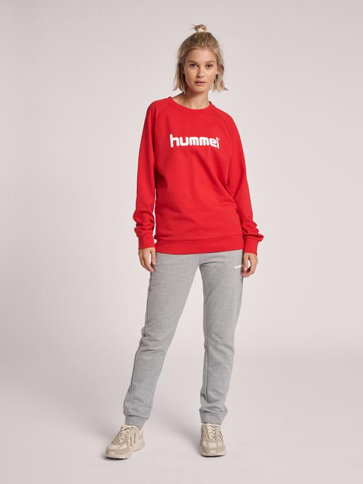 HUMMEL GO COTTON LOGO SWEATSHIRT WOMAN, TRUE RED, model