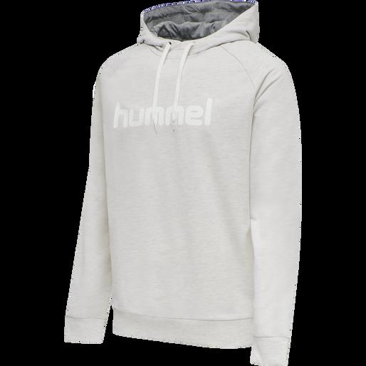 HUMMEL GO COTTON LOGO HOODIE, EGRET MELANGE, packshot