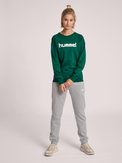 HUMMEL GO COTTON LOGO SWEATSHIRT WOMAN, EVERGREEN, model