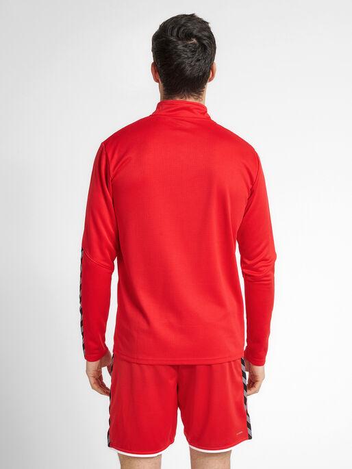 hmlAUTHENTIC HALF ZIP SWEATSHIRT, TRUE RED, model