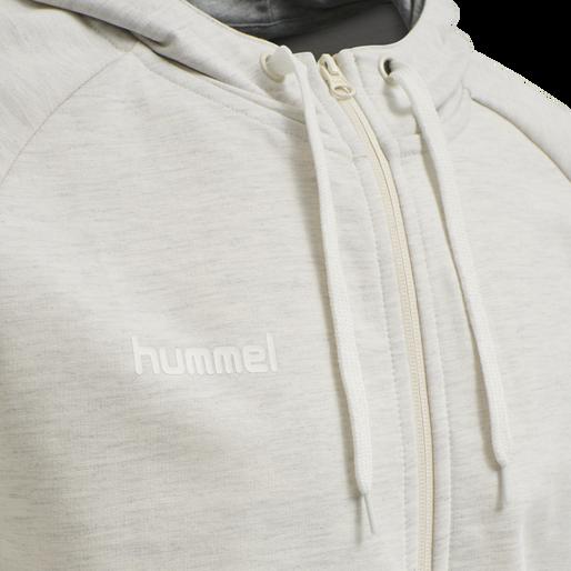 HUMMEL GO COTTON ZIP HOODIE, EGRET MELANGE, packshot