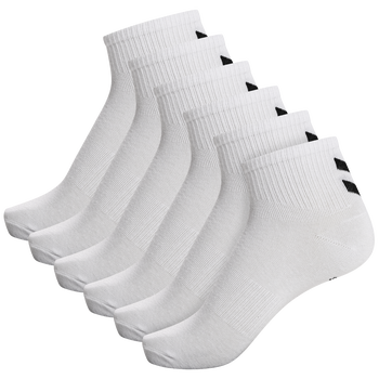 hmlCHEVRON 6-PACK MID CUT SOCKS, WHITE, packshot