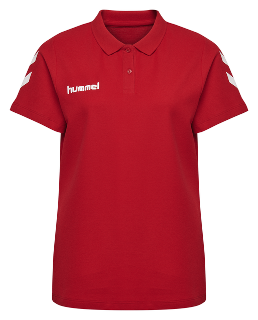 HUMMEL GO COTTON POLO WOMAN, TRUE RED, packshot