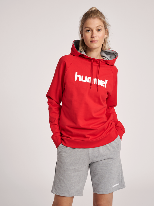 HUMMEL GO COTTON LOGO HOODIE WOMAN, TRUE RED, model