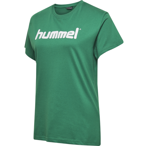 HUMMEL GO COTTON LOGO T-SHIRT WOMAN S/S, EVERGREEN, packshot