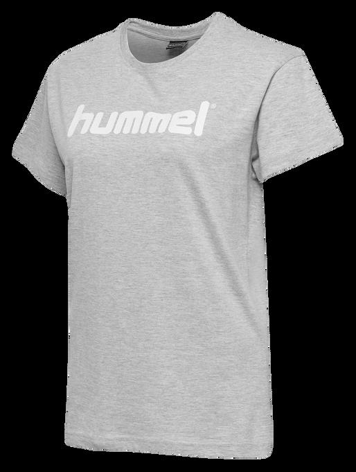 HUMMEL GO COTTON LOGO T-SHIRT WOMAN S/S, GREY MELANGE, packshot