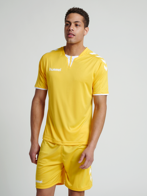 CORE SS POLY JERSEY, SPORTS YELLOW PR, model
