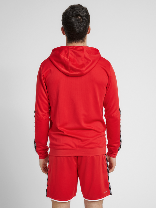 hmlAUTHENTIC POLY ZIP HOODIE, TRUE RED, model