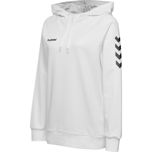 HUMMEL GO COTTON HOODIE WOMAN, WHITE, packshot