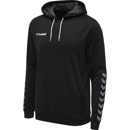 hmlAUTHENTIC POLY HOODIE, BLACK/WHITE, packshot