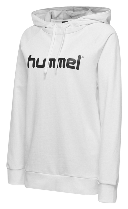 HUMMEL GO COTTON LOGO HOODIE WOMAN, WHITE, packshot