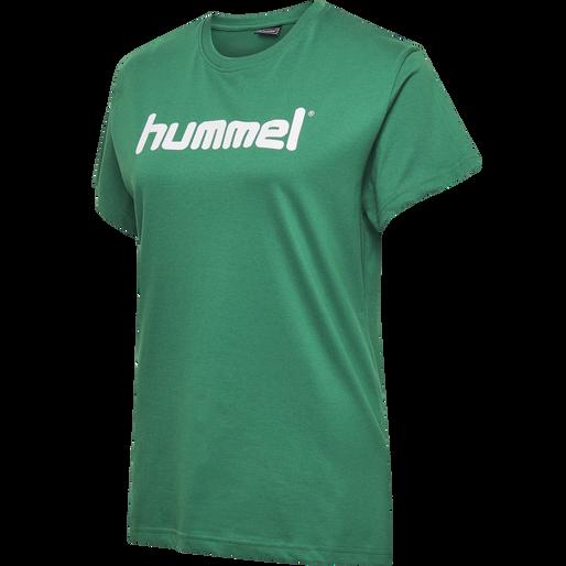 HUMMEL GO COTTON LOGO T-SHIRT WOMAN S/S, EVERGREEN, packshot