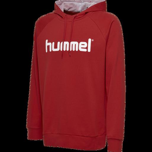 HUMMEL GO KIDS COTTON LOGO HOODIE, TRUE RED, packshot