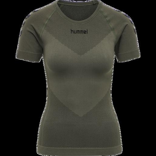 HUMMEL FIRST SEAMLESS JERSEY S/S WOMAN, GRAPE LEAF, packshot