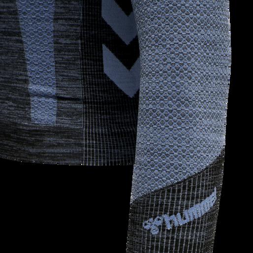 hmlSKY SEAMLESS CROPPED T-SHIRT L/S, BLACK/FADED DENIM, packshot