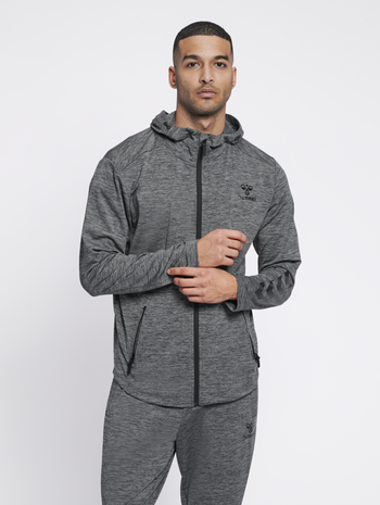 hmlASTON ZIP HOODIE, DARK GREY MELANGE, model