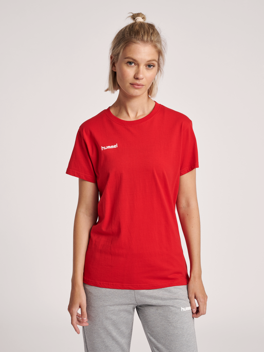 HUMMEL GO COTTON T-SHIRT WOMAN S/S, TRUE RED, model