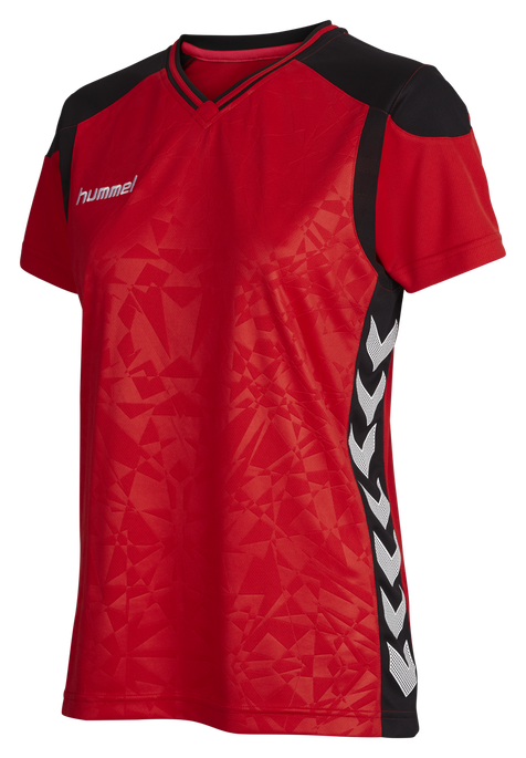 HUMMEL SIRIUS SS JERSEY WOMEN, TRUE RED/BLACK, packshot