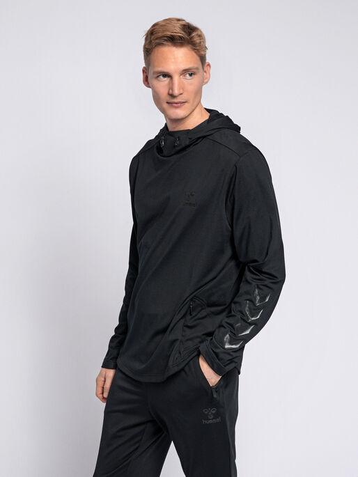 hmlASTON HOODIE, BLACK, model
