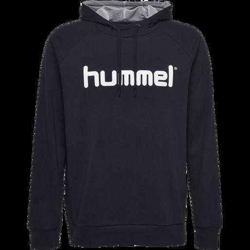 HUMMEL GO KIDS COTTON LOGO HOODIE, MARINE, packshot