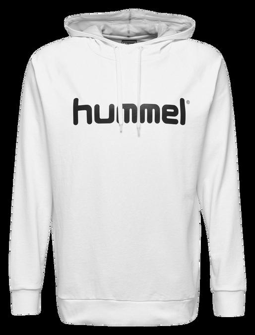 HUMMEL GO COTTON LOGO HOODIE, WHITE, packshot