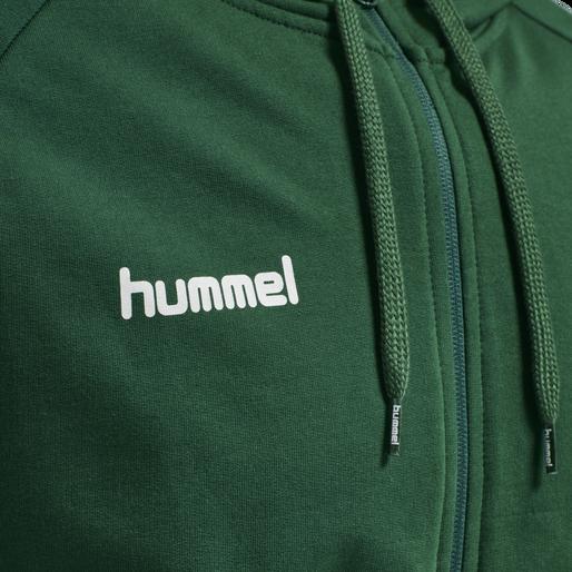 HUMMEL GO COTTON ZIP HOODIE, EVERGREEN, packshot