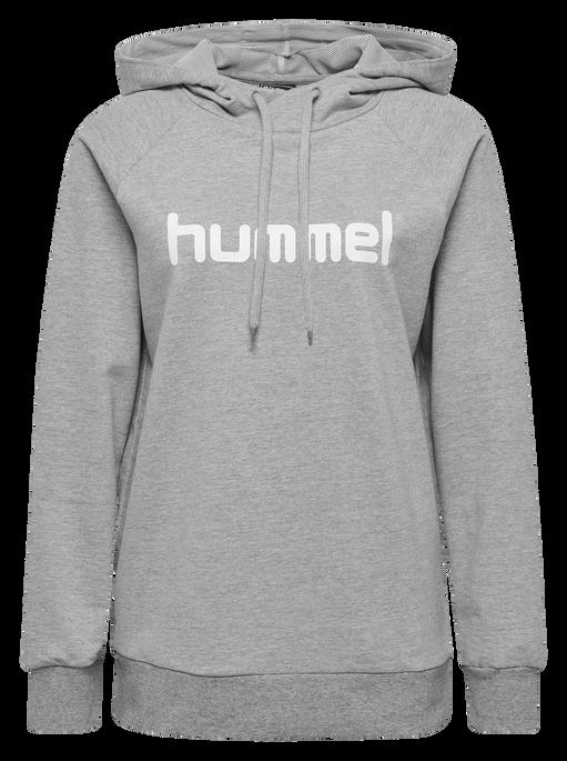 HUMMEL GO COTTON LOGO HOODIE WOMAN, GREY MELANGE, packshot