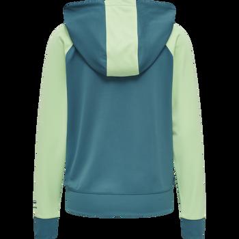 hmlACTION ZIP HOODIE WOMAN, BLUE CORAL/GREEN ASH, packshot