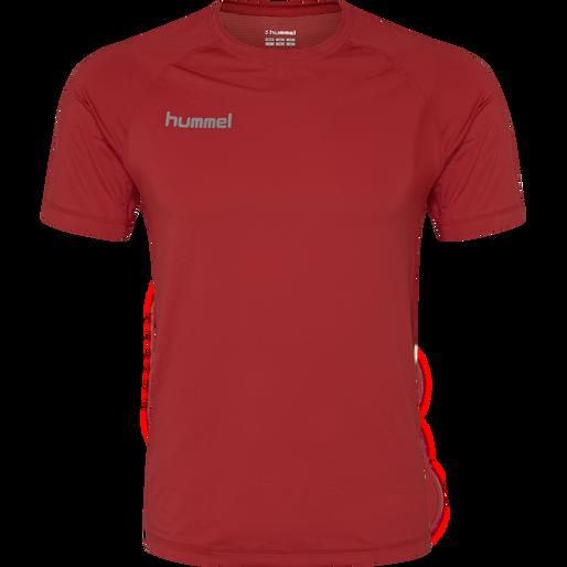 HUMMEL FIRST PERFORMANCE KIDS JERSEY S/S, TRUE RED, packshot