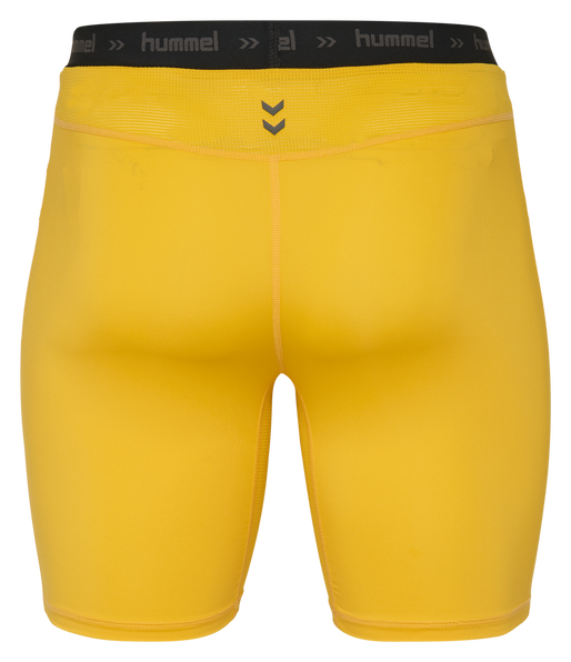 HUMMEL FIRST PERFORMANCE TIGHT SHORTS, SPORTS YELLOW, packshot
