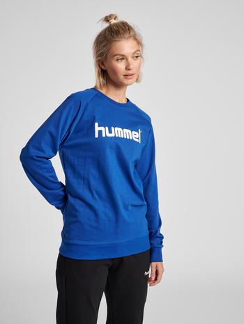 HUMMEL GO COTTON LOGO SWEATSHIRT WOMAN, TRUE BLUE, model
