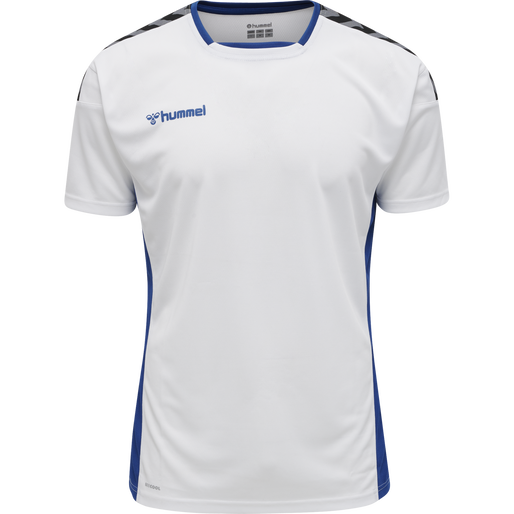 hmlAUTHENTIC POLY JERSEY S/S, WHITE/TRUE BLUE, packshot