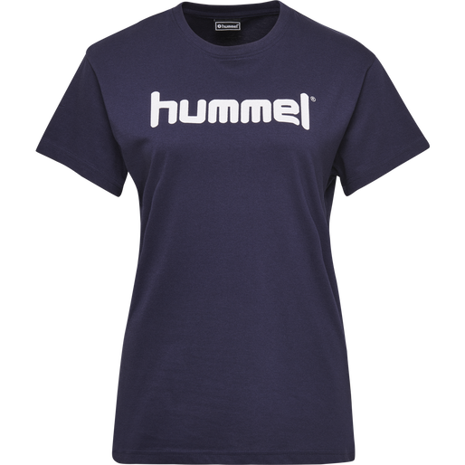 HUMMEL GO COTTON LOGO T-SHIRT WOMAN S/S, MARINE, packshot