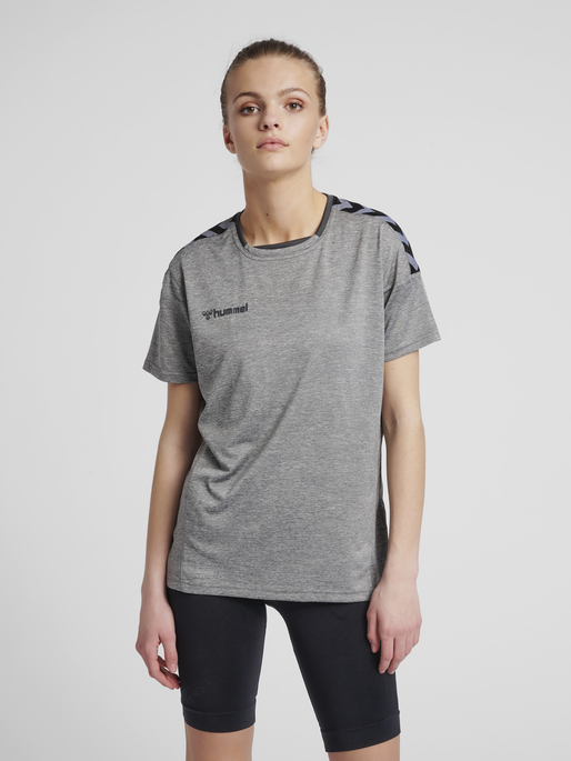 hmlAUTHENTIC POLY JERSEY WOMAN S/S, GREY MELANGE, model