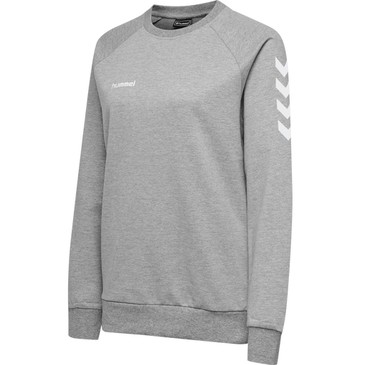 HUMMEL GO COTTON SWEATSHIRT WOMAN, GREY MELANGE, packshot