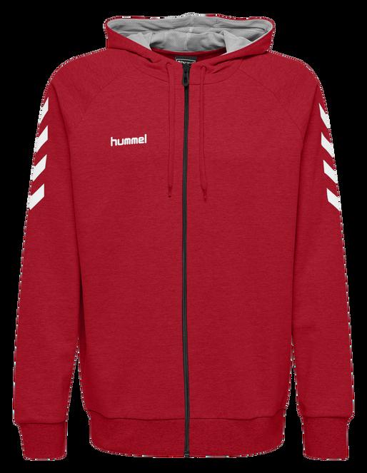 HUMMEL GO COTTON ZIP HOODIE, TRUE RED, packshot