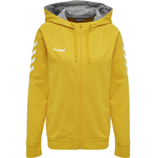 HUMMEL GO COTTON ZIP HOODIE WOMAN, SPORTS YELLOW, packshot