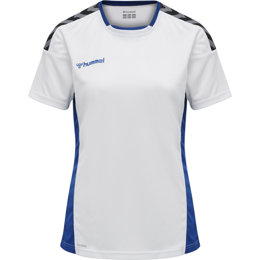 hmlAUTHENTIC POLY JERSEY WOMAN S/S, WHITE/TRUE BLUE, packshot